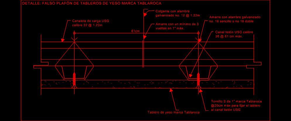 Planos de detalle de falso plaf n de tablaroca planos for Plafones de techo y pared