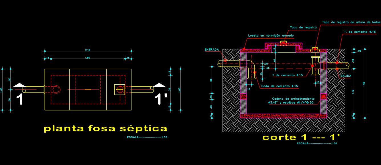 detalle de fosa septica planos de casas
