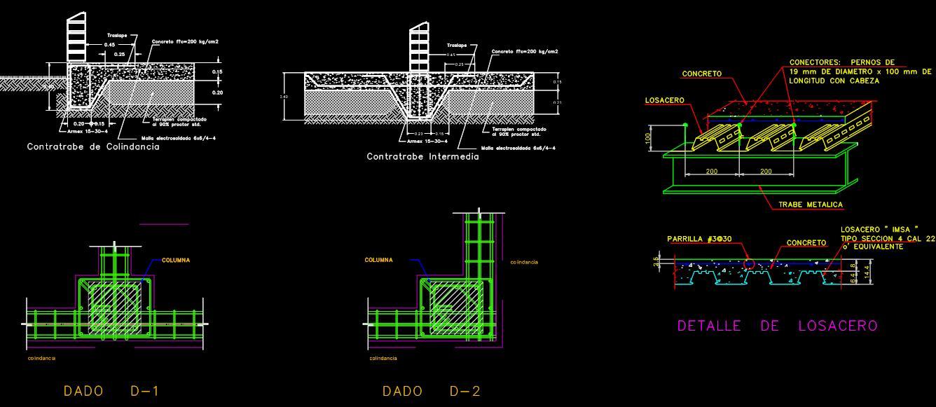 Bloques y detalles en cad planos de casas for Detalles dwg